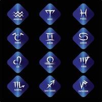 jeu d'icônes du zodiaque. signe astrologique pour horoscope astrologique. couleur du bouton bleu et signe du zodiaque blanc vecteur