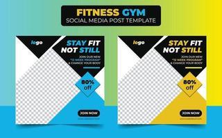 conception créative carrée de gym fitness pour publication sur les médias sociaux vecteur