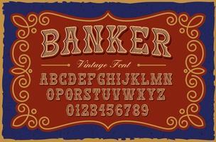 une police serif vintage dans le style occidental, cette police peut être utilisée pour de nombreux produits créatifs tels que des affiches, des emblèmes, des étiquettes d'alcool, des emballages et de nombreuses autres utilisations vecteur