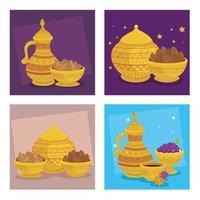 Carte de célébration eid al adha avec de la nourriture et des fruits dans des ustensiles dorés vecteur