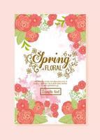 carte de voeux florale avec des fleurs pour invitation de mariage