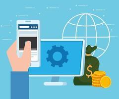 bannière de concept d'entreprise de démarrage avec ordinateur, smartphone et icônes