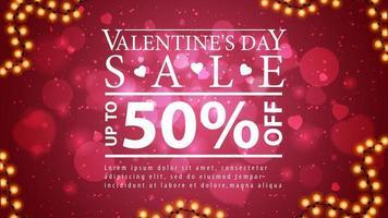 vente de la Saint-Valentin, bannière de réduction rouge avec cadre de guirlande et grande offre blanche. vecteur