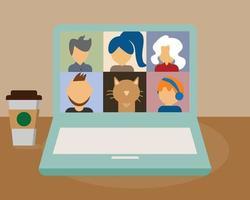 réunion en ligne avec le vecteur des équipes