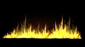 flammes de feu horizontales réalistes isolées sur fond noir pour vos arts vecteur