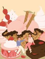 carte de la Saint Valentin heureuse avec joli couple et illustration vectorielle de dessert vecteur