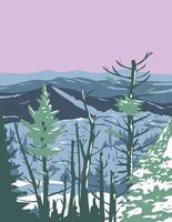 Parc national des Great Smoky Mountains pendant l'hiver dans le Tennessee et la Caroline du Nord États-Unis wpa poster art vecteur