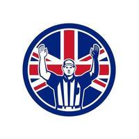 drapeau britannique de football arbitre touchdown vecteur