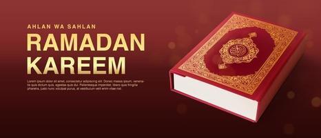 modèle de vecteur ramadan kareem avec coran réaliste 3d.
