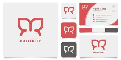 logo papillon simple et minimaliste avec modèle de carte de visite vecteur