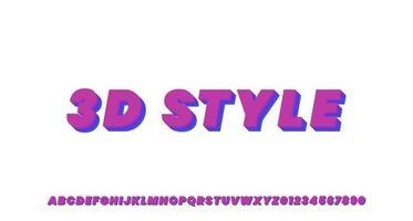 effet de texte 3d futuriste violet et bleu