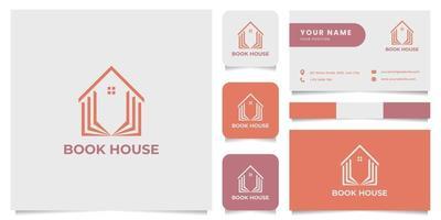 logo de maison de livre simple et minimaliste avec modèle de carte de visite vecteur
