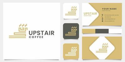logo simple et minimaliste de tasse d'escalier et de café avec le modèle de carte de visite vecteur