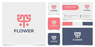 logo de fleur simple et minimaliste avec modèle de carte de visite vecteur