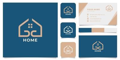 logo maison simple et minimaliste avec modèle de carte de visite vecteur