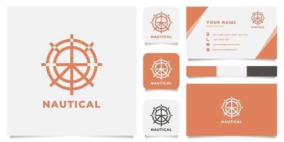 logo de roue de navire avec modèle de carte de visite vecteur