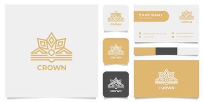 logo couronne ornementale avec modèle de carte de visite vecteur