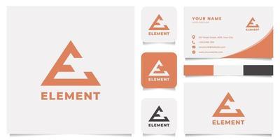 flèche lettre e logo avec modèle de carte de visite vecteur