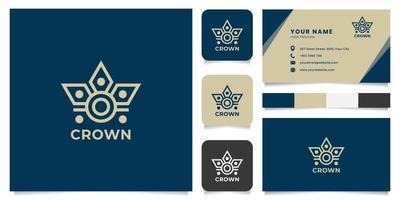 logo couronne simple et minimaliste avec modèle de carte de visite vecteur