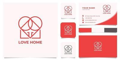 logo maison et coeur avec modèle de carte de visite vecteur