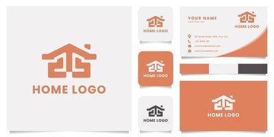 logo de la maison avec modèle de carte de visite vecteur