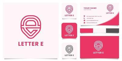 capsule lettre e logo avec modèle de carte de visite vecteur