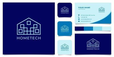 logo de technologie domestique avec modèle de carte de visite vecteur