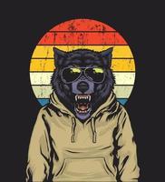illustration de loup rétro coucher de soleil vecteur