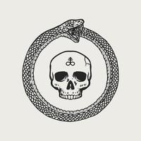 crâne ouroboros dessiné à la main