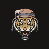 Tête de tigre avec vieux casque de soldat vecteur