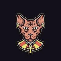 chat sphinx avec style égyptien antique vecteur