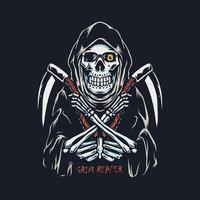 Grim Reaper avec illustration dessinée à la main double faucille vecteur