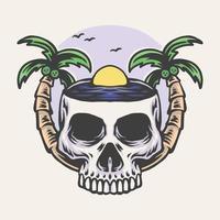 illustration vectorielle de crâne plage dessinés à la main vecteur