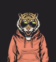 vibes tigre portant un sweat à capuche vecteur