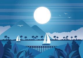 Paysage de vecteur de pleine lune