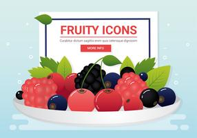 Icônes de fruits frais Vector