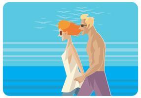 Couple marchant sur le vecteur de plage