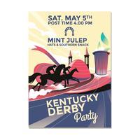 Invitation Derby Party avec rafraîchissante menthe froide Julep vecteur