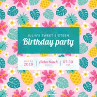Invitation de vecteur de fête d'anniversaire polynésienne
