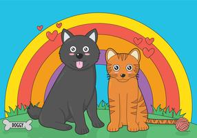 Chiots et chaton vector illustration