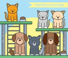 Chiots et chaton vector illustration