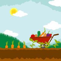 Illustration de jardin de légumes vecteur