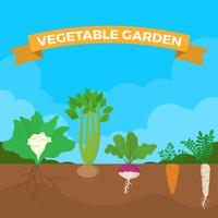 Illustration vectorielle de plat légumes jardin vecteur
