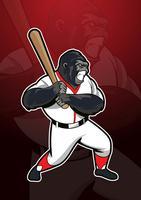 Logo mascotte gorille de baseball vecteur
