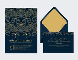 Carte de mariage Art déco vecteur