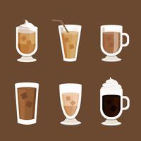 Vecteur d'icônes de café glacé