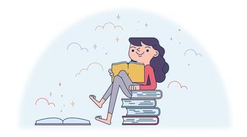 Vecteur d'amoureux des livres