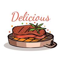 Steak sur le gril vecteur