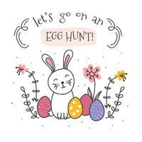 Vecteur de chasse aux œufs enfantins