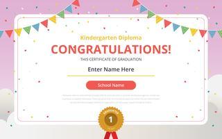 Modèle de certificat de diplôme de maternelle vecteur